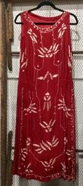 Beautiful Red Beaded Flapper with white beading