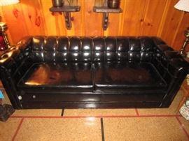 Vintage sleeper sofa black vinyl