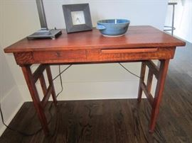 Oak desk with pull out writing surface, drawer, and folding legs!