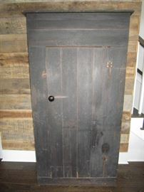 Rustic cabinet with lighted inside and suspended shelving