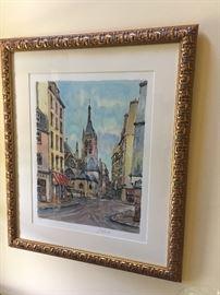 Framed signed watercolor