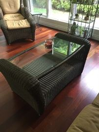 Wicker and glass coffee table