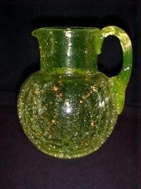 Vaseline large water pitcher crackle glass