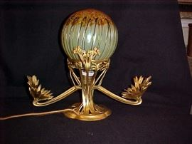 Rare Loetz art glass lamp