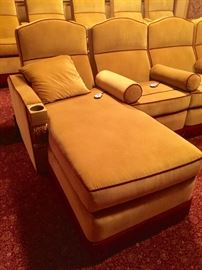 Custom 9 Seat Cream Velvet w/ Red Trim Home Theatre Seating by First Impressions