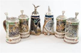 "Budweiser ""Animal Family"" series steins."