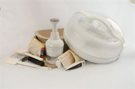 Pampered Chef lot, including chopper and stoneware.