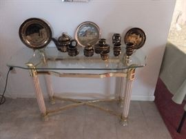 Brass/glass entry table
