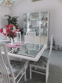 dining set - white lacquer with mirrored top on table.  1 leaf, six chairs