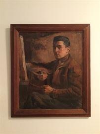 "Self-portrait, artist signed, 15"" x 18""."