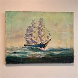 """Ship oil on canvas, artist signed, 13"""" x 17""""."""