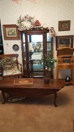 Antique curved glass paw foot etagiere...long narrow expandable coffee table...one if several Crowley radios