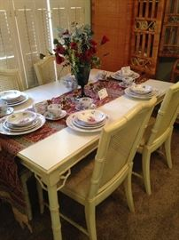Yellow bamboo style dining table & 6 chairs