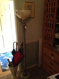 Floor lamp; rattan cabinet (1 of 2); umbrella holder