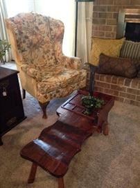 Wingback chair; antique cobbler's bench