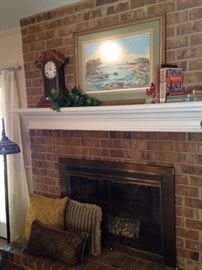 Mantel clock and framed art
