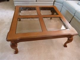 Glass top coffee table with matching end table