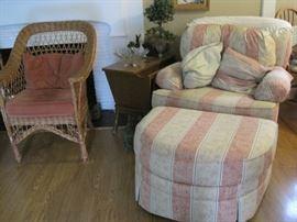 wicker chair, chair & ottoman