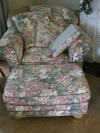 floral chair & ottoman