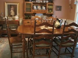 maple dining room furniture - table & chairs