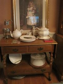 tea cart, dishes & print