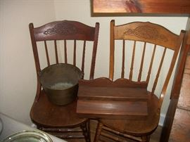 pressed back chairs, brass bucket