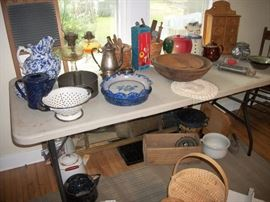 Porcelain kettles & strainer, tea set, wood turned bowls, pie plates, spice rack