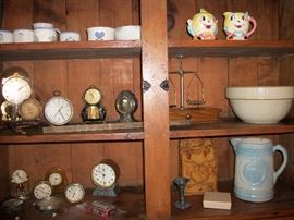 clock's, scale, Humpty Dumpty cream & sugar, wood burnt letter holder