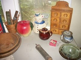 Shawnee cookie jar, spice rack and pottery by C Carlson