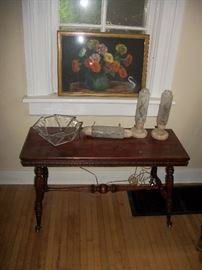 piano bench with glass & claw feet