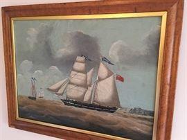 Antique nautical oil painting.