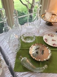 Sterling silver tray, Baccarat crystal, Waterford.