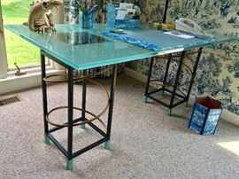 Modern Frosted Glass Top Desk w/ Metal & Copper Coil Base (30'' x 60'' x 29'')