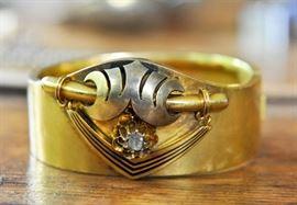 Antique cuff bracelet with rough-cut diamond.