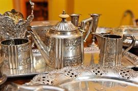 Stunning European 800 silver tea set