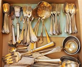 Large set of European 800 silver flatware