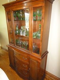 Vintage china cabinet, green depression glass