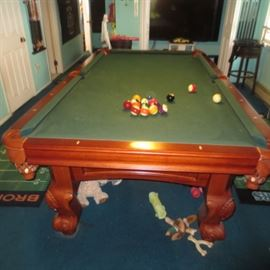 8FT TEAK CANNON SLATE BILLARDS TABLE WITH EXTRAS