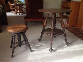 Claw feet piano stool and lamp table