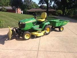 John Deere X758 Diesel with snow blade and trailer