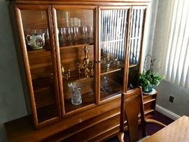 6 Chairs, Table, 2 Extensions, China Hutch