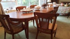 Mid Century Italian Style Dining Table with 6 Chairs, 2 Leaves and Table Covers by White Furniture