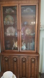 Two Mid Century White Furniture Curio Cabinets