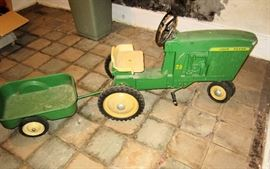 Vintage John Deere Pedal tractor with wagon