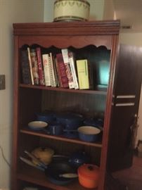 A group of good cookbooks and a large assemblage of Le Creuset French cookware, enamel on iron.  All in excellent condition and most appears to be never used.