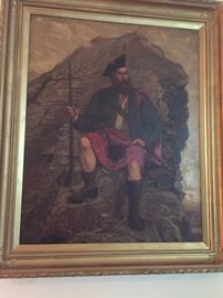 Large and impressive oil-on-canvas painting of Highlander in kilt seated on a rocky crag.  Very fine original gilt frame. Unsigned but British, about 1850.