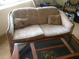 "Lot 102 buy it now $175 love seat matches lot 101. 58""L x 35"" deep x 29""H. Also comes with 2 matching throw pillows"