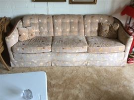 "Lot 101 buy it now $225--broyhill 3 cushion sofa. 84""L x 35""D x 29"" H button tufted back beige & gold valour fabric with 2 matching throw pillows"