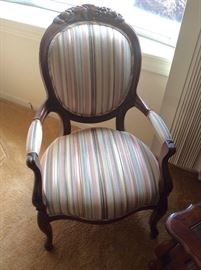 Lot 104 buy it now. 2 vintage upholstered arm chairs. Stripe pattern. Excellent condition. $85 each