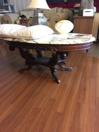 Antique, marble top coffee table